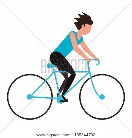 person riding blue bycicle vector illustration flat style design