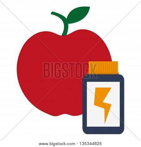 red apple with dietary supplement next to it vector illustration