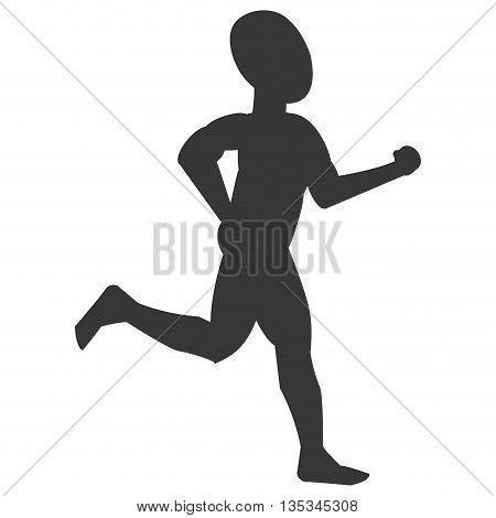 silhouette of bald person jogging vector illustration