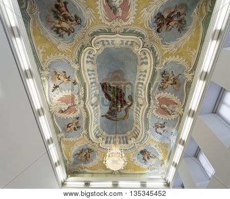 OEIRAS, PORTUGAL - November 4, 2015: The magnificent ceiling of the Great Hall of the Palace of Oeiras, on November 4, 2015 in Oeiras, Portugal