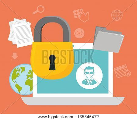 Security system design over orange background , vector illustration.