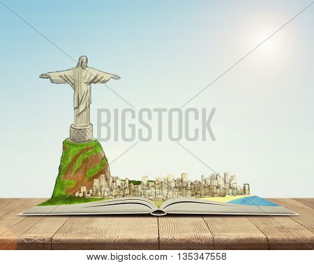 Open book with a sketch of the Christ the Redeemer statue and Rio de Janeiro on top of it. Inner and spiritual wealth. Book - the key to success and internal development. Sign and symbol. Rio de Janeiro. Brazil. Statue of Christ the Redeemer. New Seven Wo