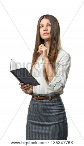Cutout business woman holding a book and looking away. Smart staff. Success and development. Business staff. Office clothes. Learning and teaching. Study process.