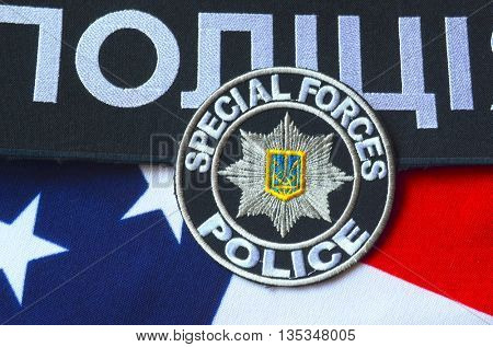 ILLUSTRATIVE EDITORIAL.Chevron of Ukrainian new pro-american police.June 7,2016 in Kiev, Ukraine