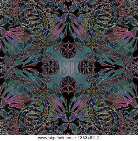 dark orienta symmetric  floral pattern on spotted background