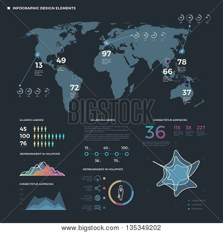 Infographic thin line elements. Vector business infographics template. Map infographic world and information statistic map world illustration