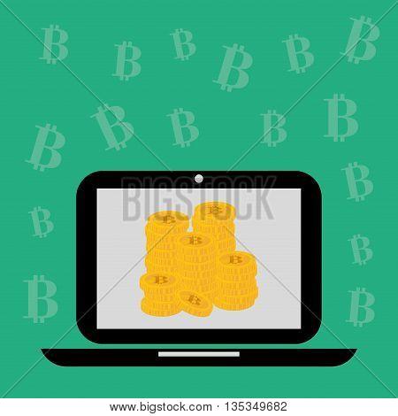 Bitcoin design over green background, vector illustration.