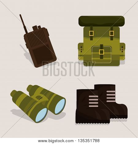 Army design over beige background, vector illustration.