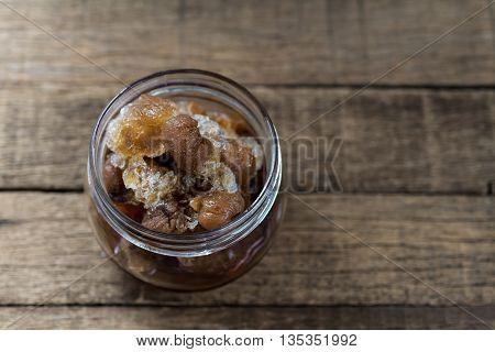 Drinks series : Frozen longan in glass jar
