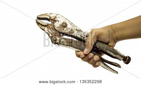 A hand of repairman holding pliers on isolated close-up