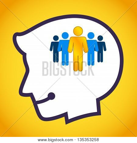 Vector stock of human head silhouette with golden person inside