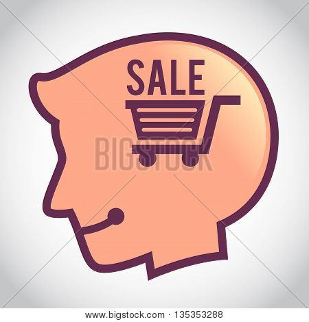 Vector stock of human head silhouette with sale shopping cart symbol inside