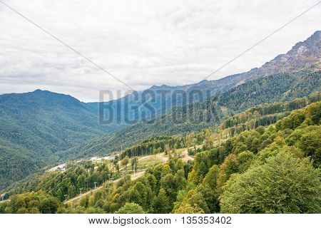 Ski Resort Rosa Khutor, Krasnodar Region, Russia, October 7, 2015.