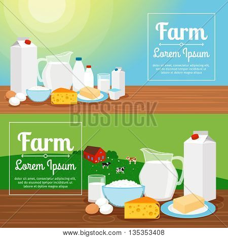 Milk farm banners. Horizontal dairy products banners with cows and green meadows. Vector illustration