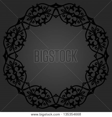 Oriental vector round frame with arabesques and floral elements. Floral fine border. Greeting card with place for text