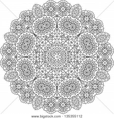 Intricate geometric pattern on white background with beautiful ornate geometric shapes