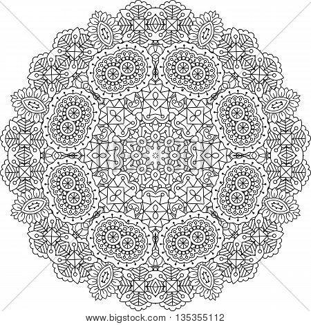 Intricate geometric pattern on white background with beautiful ornate geometric shapes