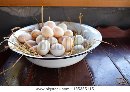 Many of fresh duck eggs for cooking