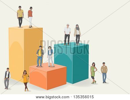 3d design of a text box frame background with cartoon teenagers. Asian, muslin and black people.