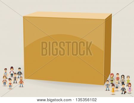 3d design of a text box frame background with hipster people wearing vintage clothes.