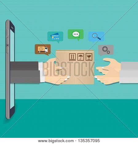Delivery man hand with cardboard box from smartphone. Fast delivery service concept.