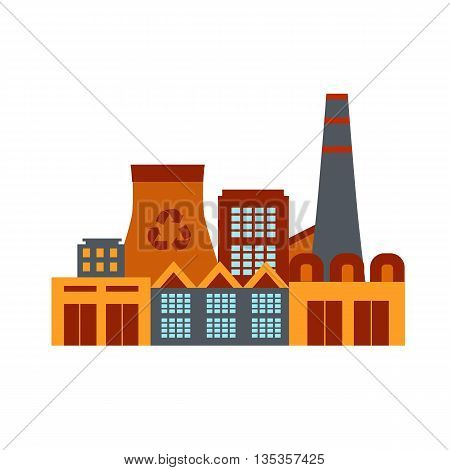 Vector illustration waste recycling plant in flat style. Garbage recycling plant illustration. Industrial icon of waste recycling plant. Waste recycling plant poster.