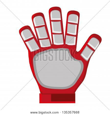 red and grey goalkeeper single glove vector illustration