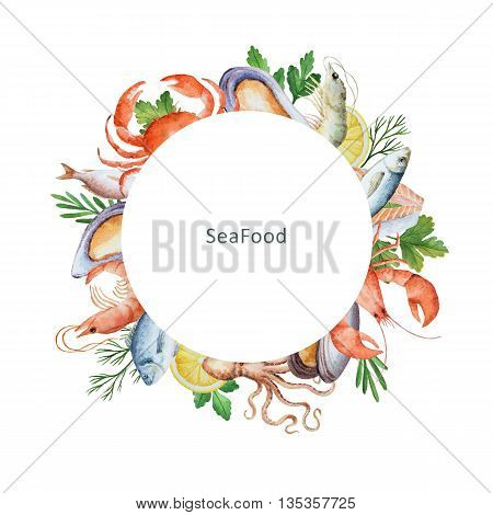 Watercolor conceptual illustration of seafood and spices. The perfect design for packaging, kitchen decor, natural and organic products. Round frame with space for text.