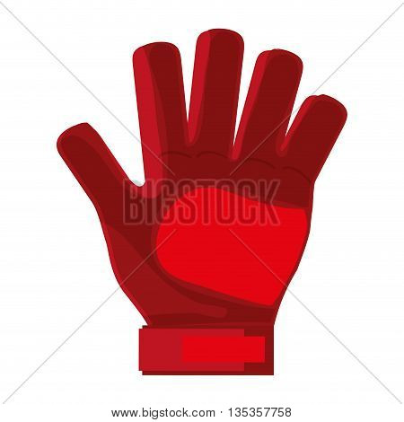 red goalkeeper single glove vector illustration flat style design