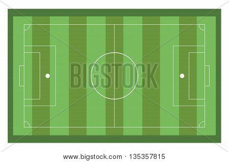 green horizontal topview of football field vector illustration