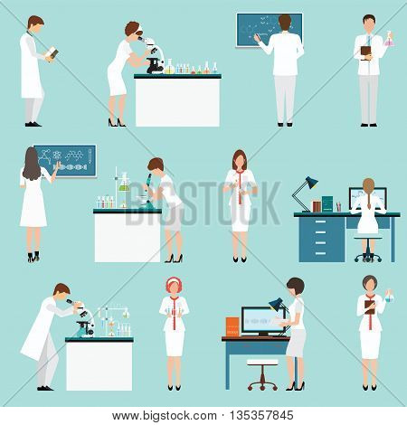 Characters set Scientists with male and female people in laboratory isolated vector illustration.