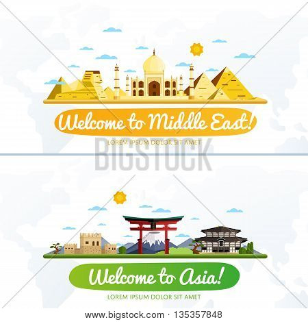 Welcome to Middle East and Asia travel flat vector illustration. Journey around the world. World traveling concept. Middle East travel and Asia travel banners. Worldwide discover. Travel concept. World travel background. Travel banners. Time to Travel