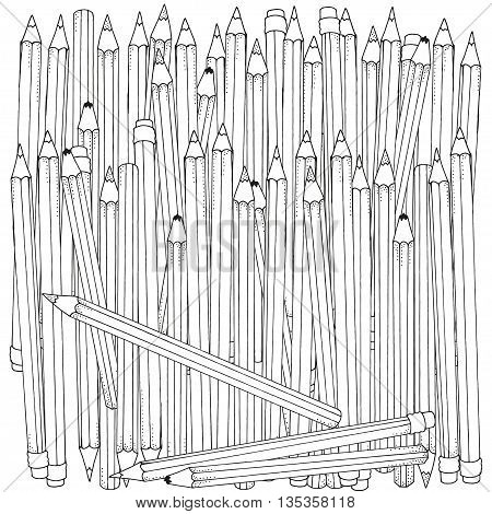 Pattern for coloring book. Set of colored pencils hand-drawn decorative elements in vector. Doodles. Black and white. Made by trace from sketch.