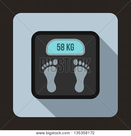 Weight scale icon in flat style on a light blue background