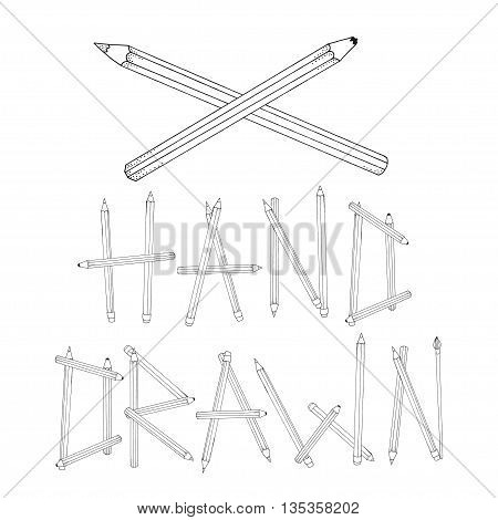Hand drawn phrase made of pencils. Pattern for coloring book. Set of colored pencils hand-drawn decorative elements in vector. Doodles. Black and white. Made by trace from sketch.