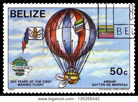 STAVROPOL RUSSIA - JUNE 20 2016: a stamp printed in Belize shows an Airship Guiton De Morveau 200 years of manned flight cirka 1983
