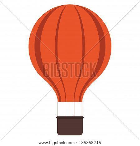 orange hot air balloon with brown basket vector illustration