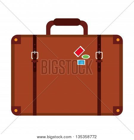 brown suitcase with handle and stickers vector illustration vector illustration