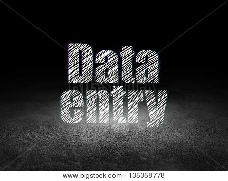 Information concept: Glowing text Data Entry in grunge dark room with Dirty Floor, black background