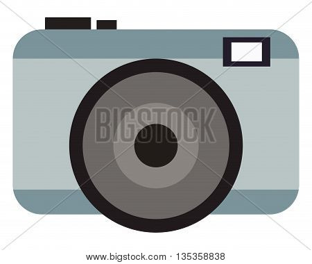 grey photographic camera with flash and buttons vector illustration