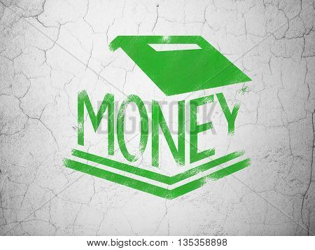 Money concept: Green Money Box on textured concrete wall background