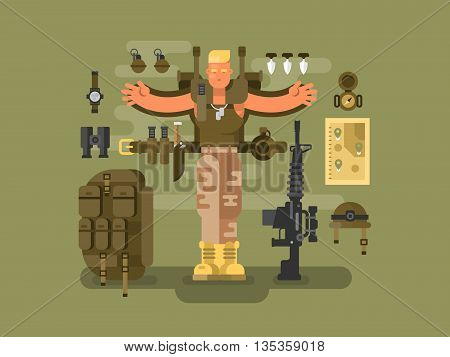 Soldier and ammunition design flat. Backpack military, weapon army, vector illustration
