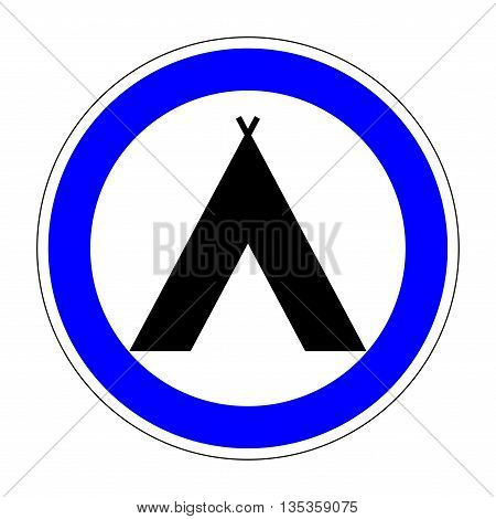 Sign place for camp. Camping icon. Flat symbol for tourists. Modern art scoreboard. Campsite graphic image. Plane mark in blue circle on white background. Stock vector illustration