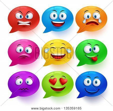 Speech bubble vector colorful set with funny facial expressions and emotions isolated in white background. Vector illustration.