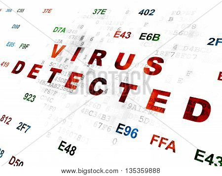 Security concept: Pixelated red text Virus Detected on Digital wall background with Hexadecimal Code