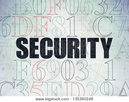 Privacy concept: Painted black text Security on Digital Data Paper background with Hexadecimal Code