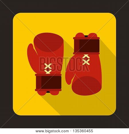 Boxing gloves icon in flat style on a yellow background