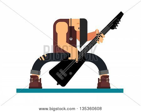 Guitarist character, guitar and musician, musical instrument, sound and performance and stage, flat vector illustration