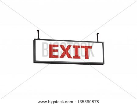 Exit signboard on white background, stock photo