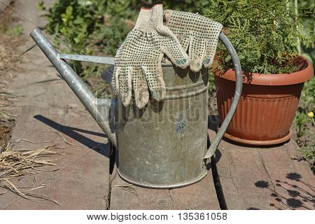 pair work glove and old watering can close up